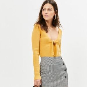 Yellow Tie Front Sweater Top